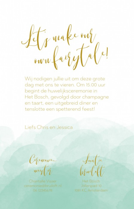 FOLIE Trouwkaart - Watercolor Mint GOUD achter