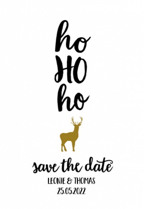 Kerst Save the date - Ho ho ho rendier voor