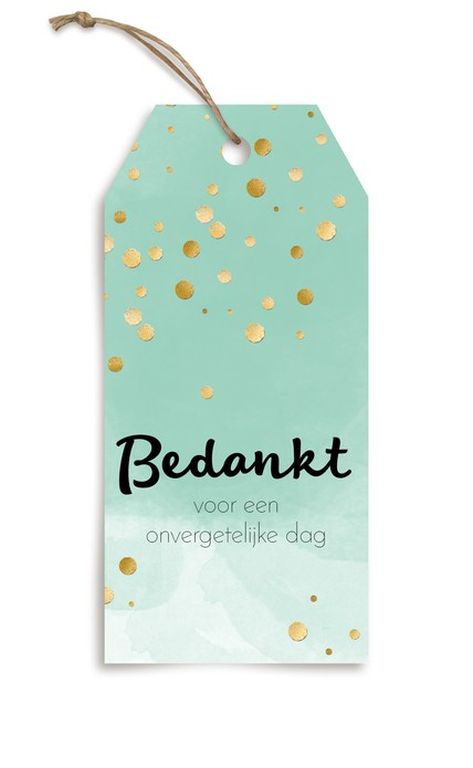 Bedankje - Label Glitters en Goud Watercolor Mint 2 voor