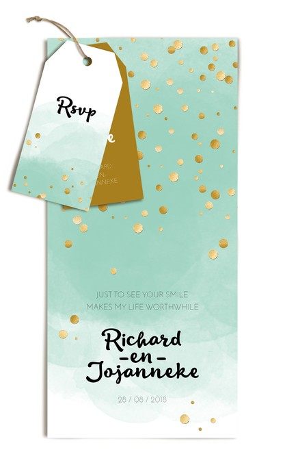Trouwkaart met labels - Glitters en Goud Watercolor mint voor
