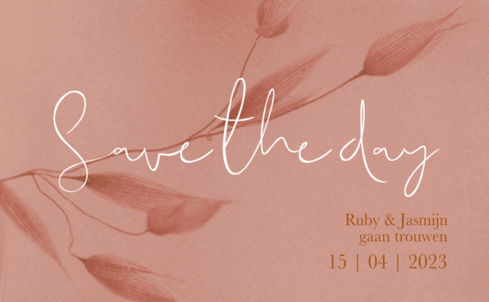 Save the date - Blush Bamboe Roze voor