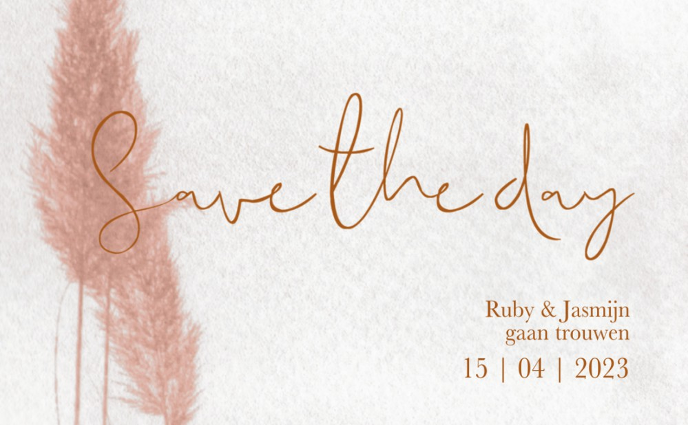 Save the date - Blush Pampasgras voor