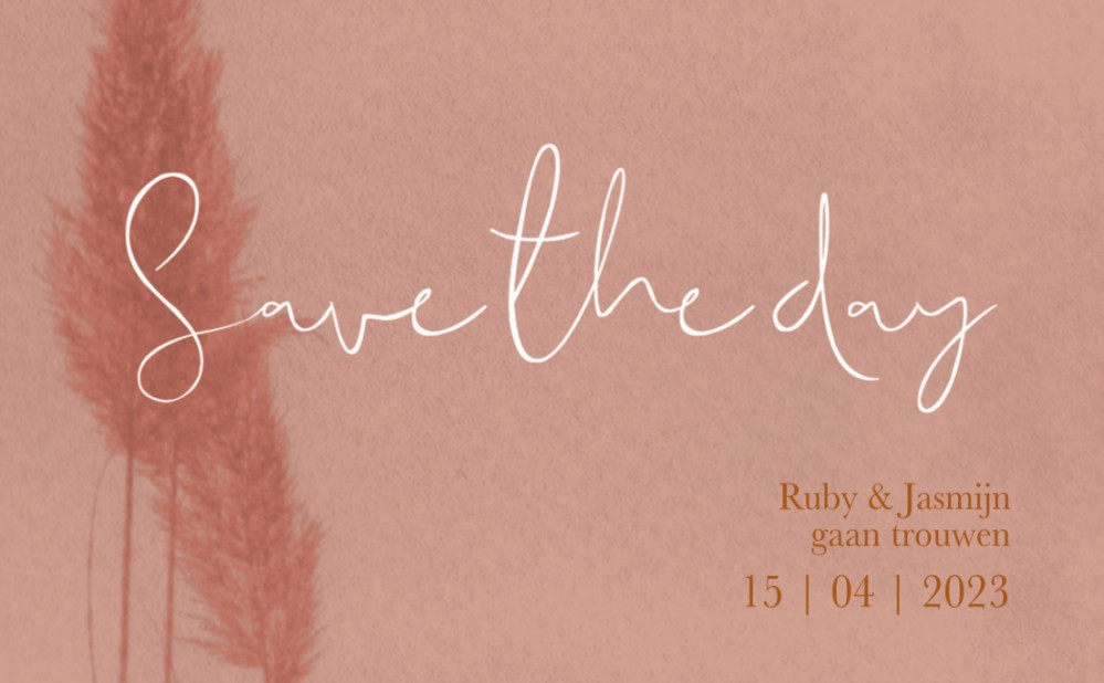 Save the date - Blush Pampasgras Roze voor