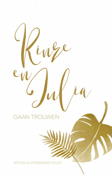 Save the date - Glitters en Goud Tropical achter
