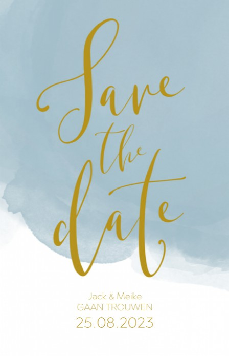 Save the date - Goud Tint Watercolor Dusty Blue voor