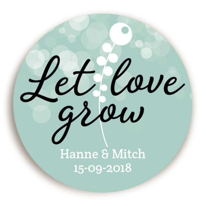 Sticker Let Love Grow Mint 2 voor