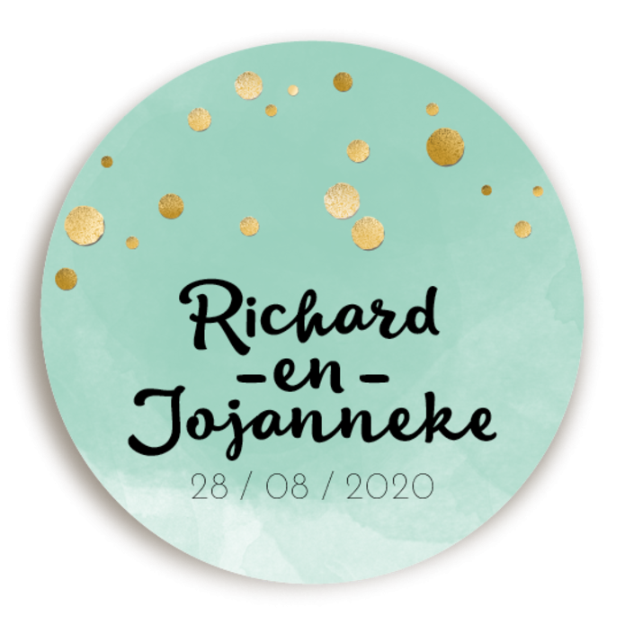 Sluitsticker Watercolor Mint Confetti voor